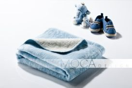 Kocyk Moca 75x100 Light Blue&Ecrue